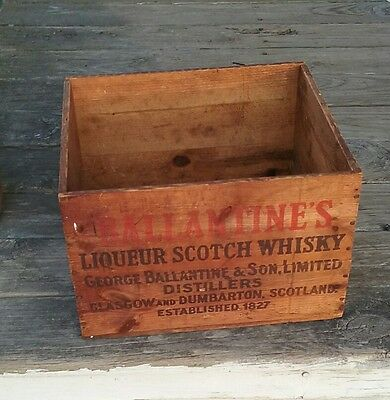 Vintage Ballantine Liquor Scotch Whiskey Wooden Advertising Crate Box Beer