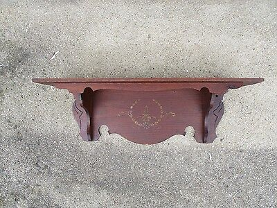 Antique Victorian Oak Clock Shelf with Original Painted Stencil Decal