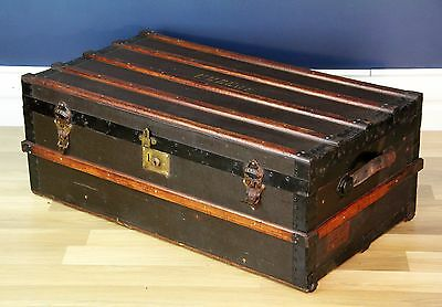Antique Oak and Leather Travelling Trunk / Coffee Table Circa 1900
