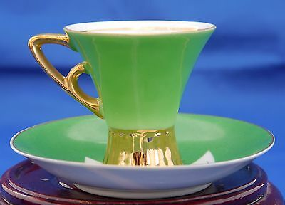 Art Deco Napco Demitasse Cup & Saucer. White Porcelain w Green & Gold 4ZD-5415