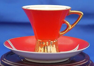 Art Deco Napco Demitasse Cup & Saucer. White Porcelain w Red & Gold 4ZD-5415