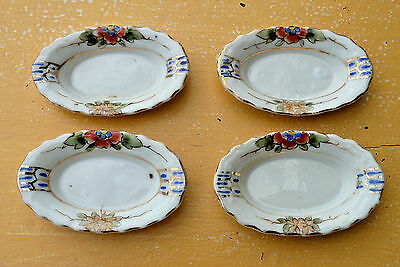 Hand Painted Nippon Set of 4 Oval Butter Pats Or Mint Nut Dishes ~ Flower Design