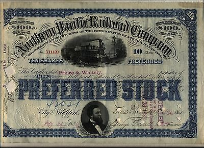 Northern Pacific Railroad Company Stock Certificate Blue
