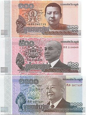Cambodia 100, 500, 1000 Riels 2012-2014 (2015) UNC P-New, SET of 3 notes
