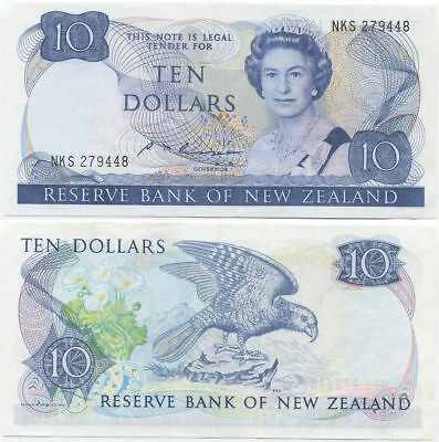 New Zealand 10 Dollars 1985 AU/AU+ P-172b, QEII, scarce
