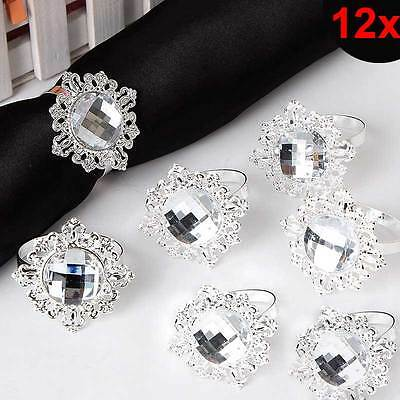 12pcs Bling Acrylic Napkin Rings Holder Wedding Banquet Christmas Decor Favor