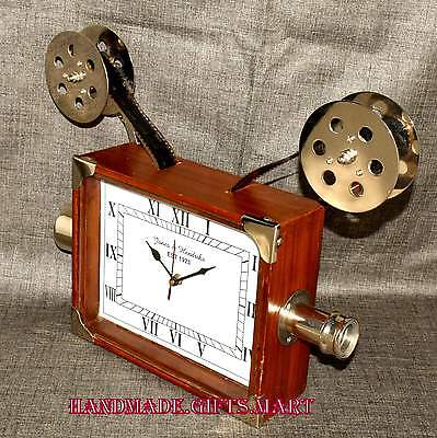 Big Vintage Retro Nautical Camera Reproduction Home Replica Clock Wooden Collect