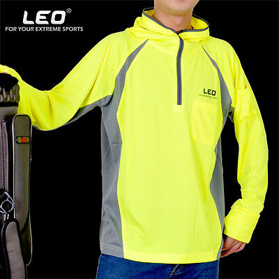 Mens Fishing Hoodie T-Shirt with Antislip Cuffs Breathable UV Protection