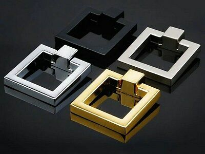 Square Drop Ring Gold Silver Chrome Nickel Black Bronze Drawer Knob Cabinet Pull