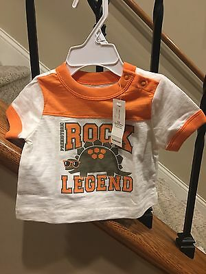 Old Navy Infant Dino Shirt Size 0-3 months Short Sleeve Boy NWT
