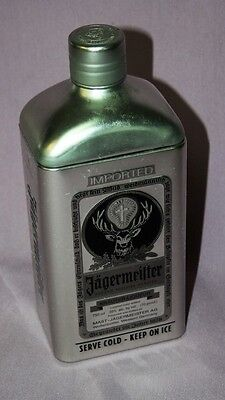 Limited Edition Jagermeister Metal Bottle Cover Tin, Silver w/ Black Accents