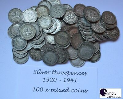 BULK pre 1947 SILVER THREEPENCES 3d COIN DATED 1920-1944 Pick Quantity 10 25 100