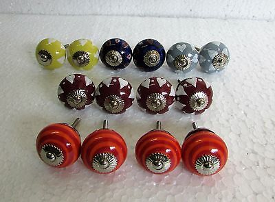 Lot Of 14 Vintage Style Multi Color CERAMIC Knob Drawer / Cabinet Handle Pulls