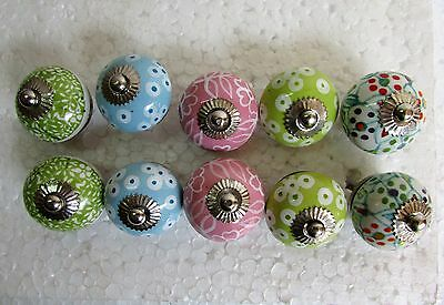 Lot Of 10 Vintage Style Multi Color CERAMIC Knob Drawer / Cabinet Handle Pulls