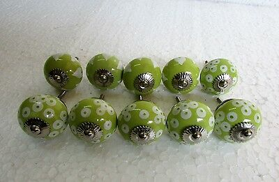 Lot Of 10 Vintage Style Painted CERAMIC Knob Drawer /Door /Cabinet Handle Pulls