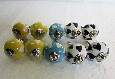 Lot of 10 Multi Color Hand Painted CERAMIC Knob Drawer /Door Cabinet Handle Pull