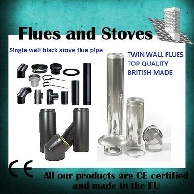 "5"" & 6 inch single wall & twin wall flue pipe silver and black for wood burner"