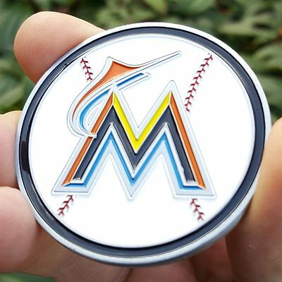 PREMIUM MLB Miami Marlins Poker Card Guard Chip Protector Coin Golf Marker