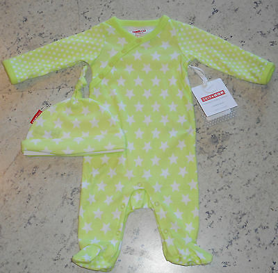 SKIP HOP Baby Footie & Hat Set. Cotton, Neon Green, Long Sleeves, STARS. NWT