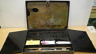 Antique 1900's metal oil paint artist field box pallet brushes WN paint contents