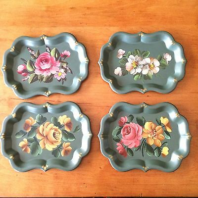 4 Vintage Small Green Tole Trays Metal Tin Handpainted Floral Serving Toleware