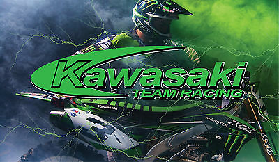 Kawasaki Dirt Bike Full Color Custom Vinyl Banner Moto Cross Racing MotoX Racing