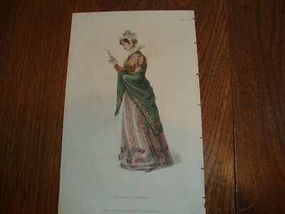 #4 Antique Hand Coloured Engraving/Print Costume/Fashion Morning Dress 1824