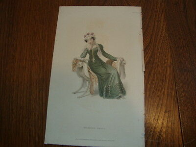 #3 Antique Hand Coloured Engraving/Print Costume/Fashion Morning Dress 1824