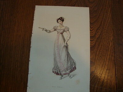 #2 Antique Hand Coloured Engraving/Print Costume/Fashion Ball Dress 1824
