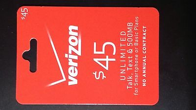 Verizon $45 Prepaid Cell Phone Refill Recharge Reload Top Up Card