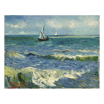 Framed Seascape Sea Boat by Van Gogh Canvas Print Home Wall Fine Art Decor
