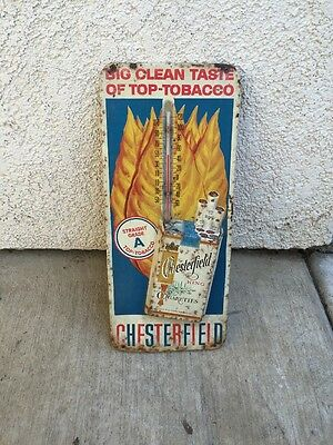 Vintage Chesterfield Tin Thermometer Advertising Sign