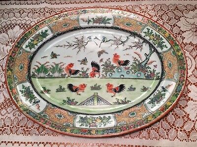 Chinese China Famille Rose Canton Rooster Porcelain Platter