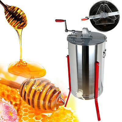 """Pro Three 3 Frame Stainless Steel Bee Honey Extractor Honeycomb Manual 14.76"""""""