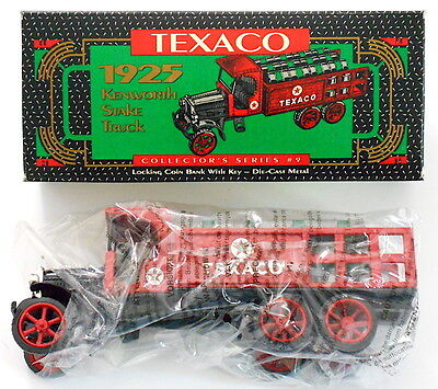 A 1925 Kenworth Stake Texaco Truck Die Cast Locking Coin Bank ERTL (1992) NEW