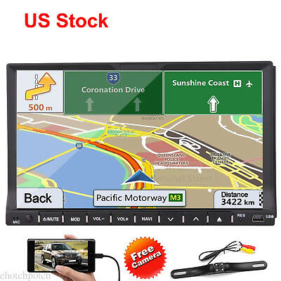 """Double 2Din Car DVD Radio Player In Dash Deck 7"""" Touch BT GPS iPod Stereo+Camera"""