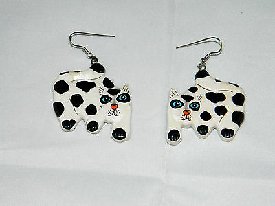 Vintage Wood White with Black Spots CAT Earrings ~ BLUE EYES! USA MADE!