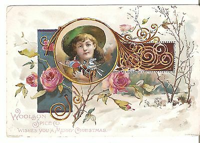 Merry Christmas LION COFFEE VICTORIAN TRADE CARD WOOLSON SPICE Co Toledo Ohio