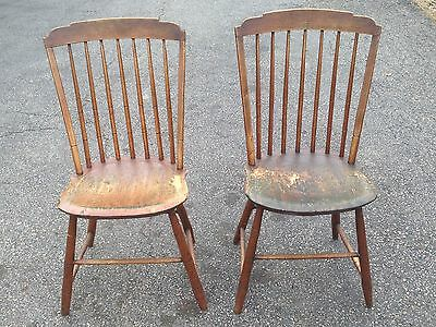 Pair of 18th-19th c. Antique Wooden Windsor Chairs Early Rare Form