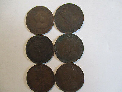 Lot of 6 Canadian Pennies Mixed Dates
