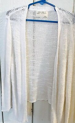 Zara Girls Summer Collection Size 6 7 Solid White Open Sweater