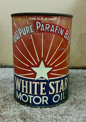 Vintage Rare White-Star  Motor Oil Tin Quart Can Los Angeles Ca.