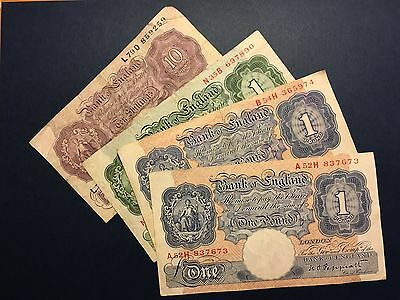Lot GREAT BRITAIN UK 1940-1950, 10 shillings, 1 pound, Four VF Banknotes