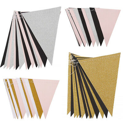 3M 15 Flags Paper Glitter Gold Bunting Banner Garland Wedding Party Hanging Dec