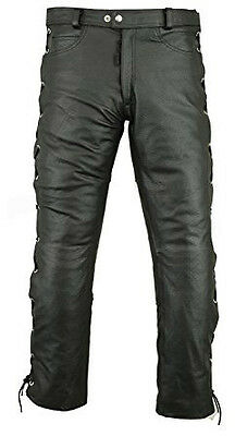 Men's Real Leather Trouser Biker Genuine Motorcycle Side Lace Casual Black Pants