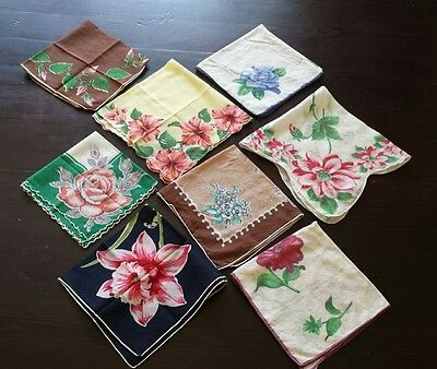 Lot of 8 Vintage Handkerchiefs - Rock it like the 50s!