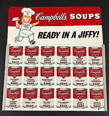 Original Mid Century Campbell's Soup Grocery Store Restaurant Advertising Sign