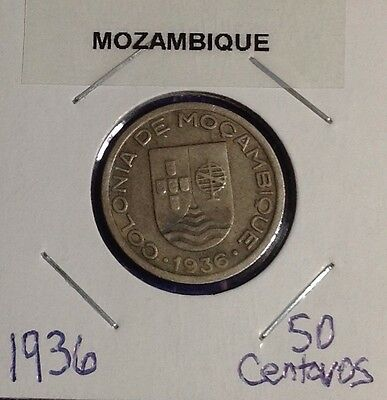 1936 Mozambique 50 Centavos KM# 65**Nice All Original One Year Type Coin!!!**