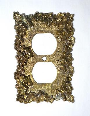 Vintage Ornate Floral Design Brass Outlet Plate Cover Amer. Tack & Howe