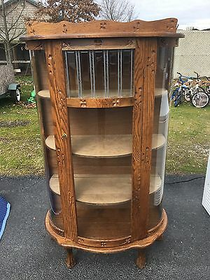 Antique Oak Bow Front Clawfoot Carved Wood Stained Glass Curio Cabinet